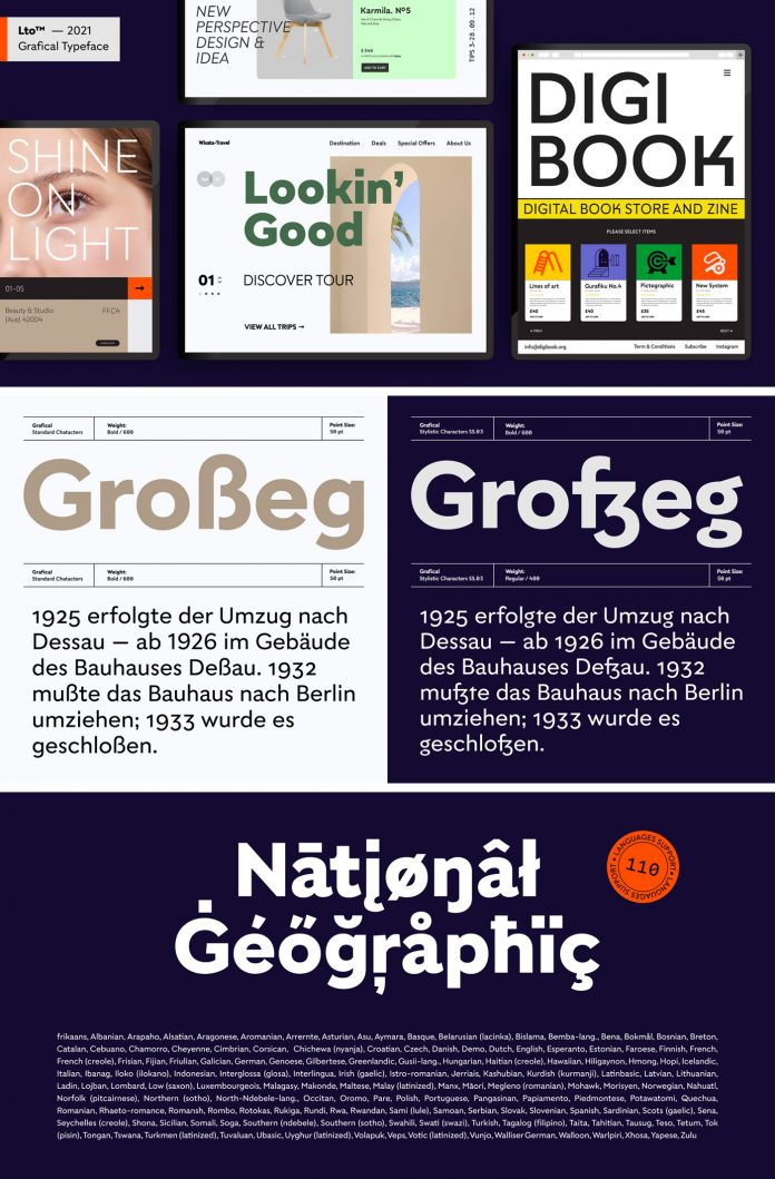 Grafical font family by Letter Omega Type Foundry