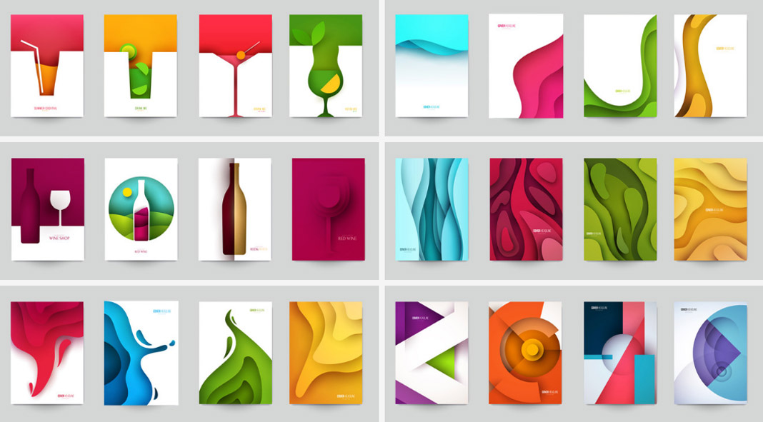 Vector Graphics of Graphic Papercut Illustrations.