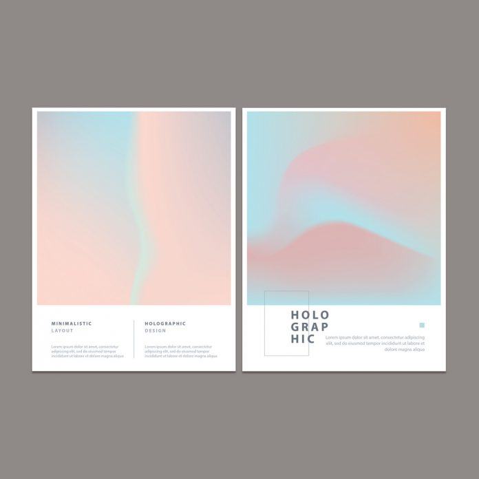 Abstract minimalist holographic flyer templates for Adobe Illustrator.