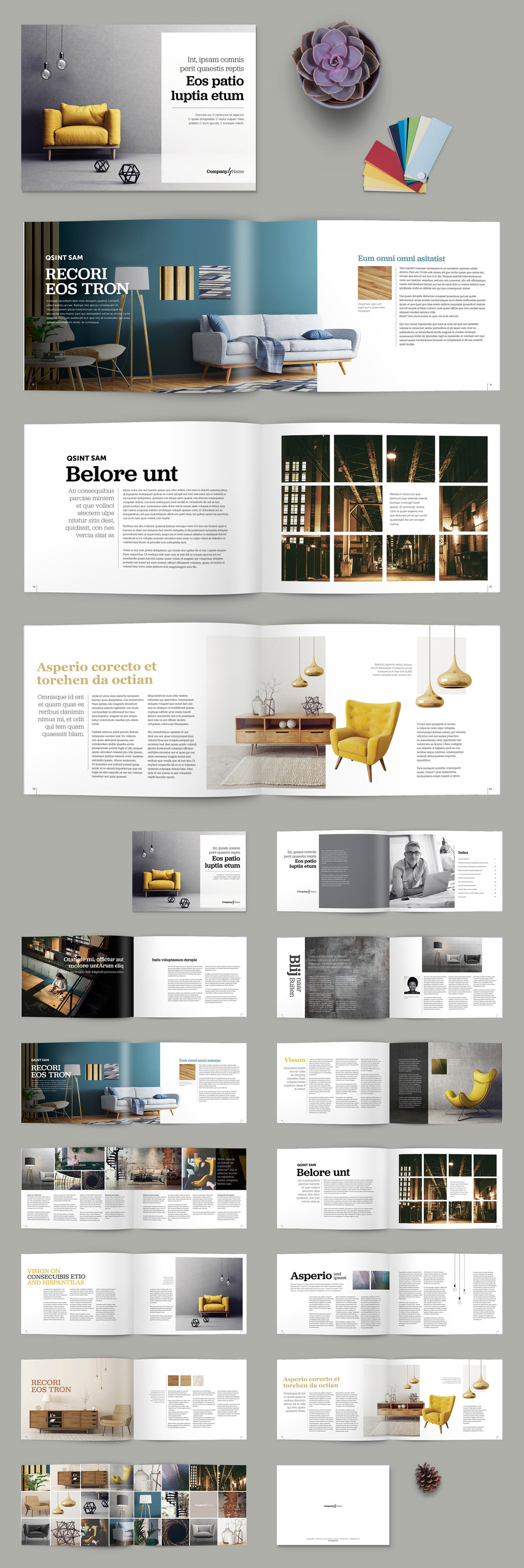 Adobe InDesign Brochure Template with Yellow Accents