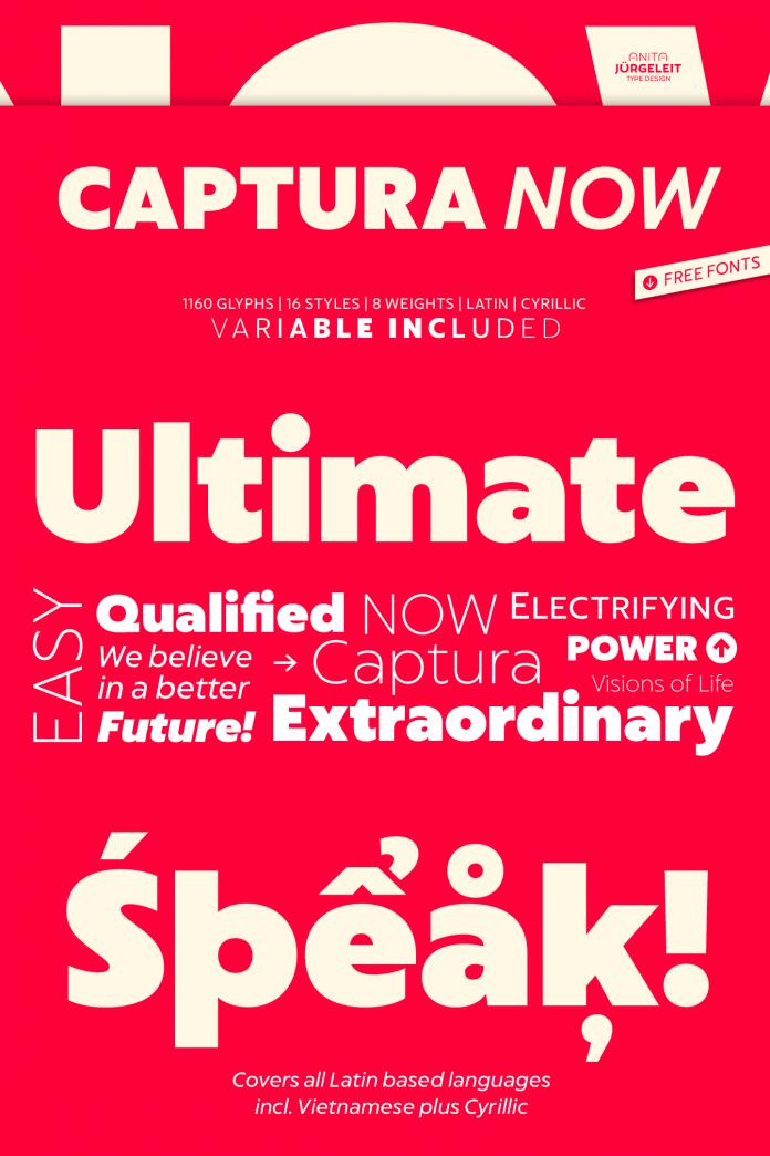 Captura Now font family by Anita Jürgeleit.