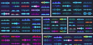 Download colored sound waves as vector graphics.