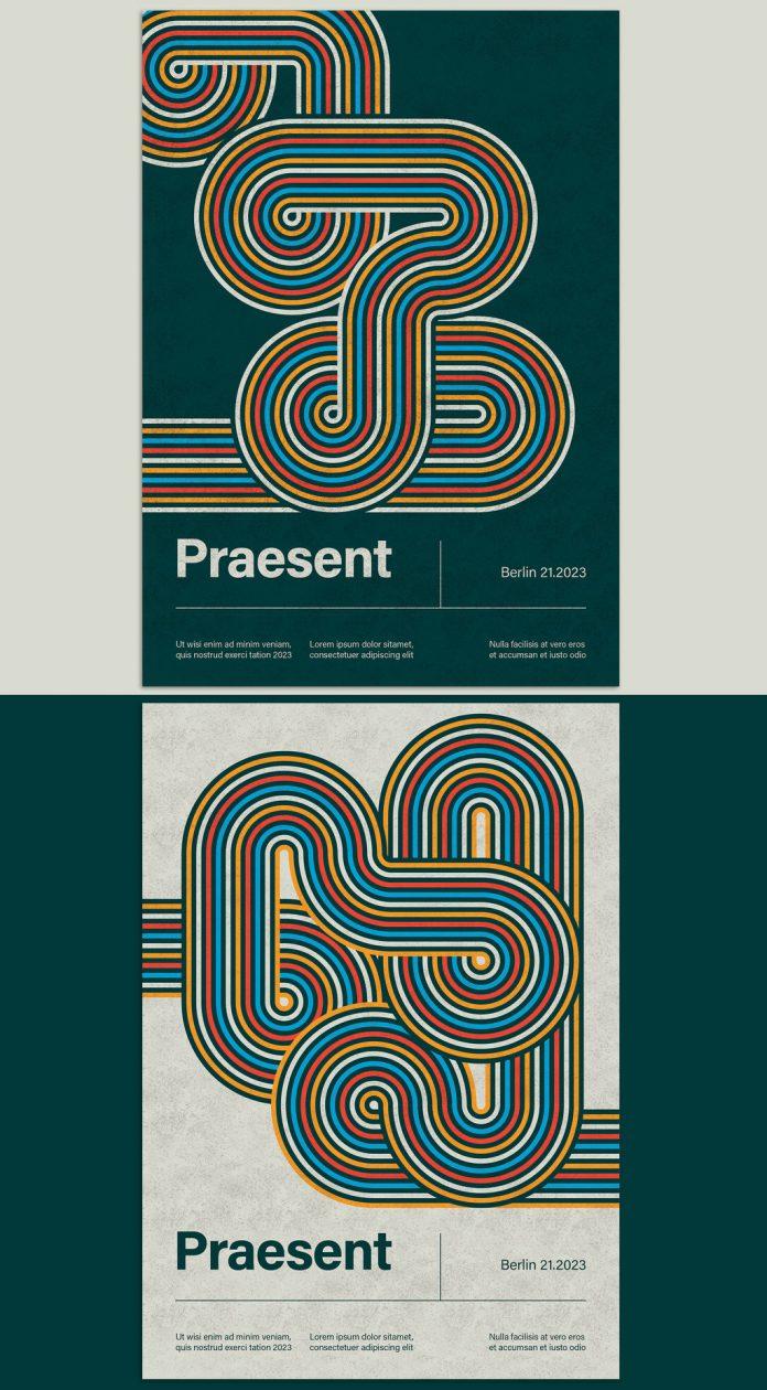 Geometric Lines Poster Template by @blackcatstudio