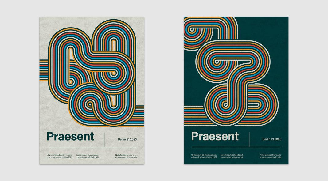 Geometric Lines Poster Template for Adobe Illustrator