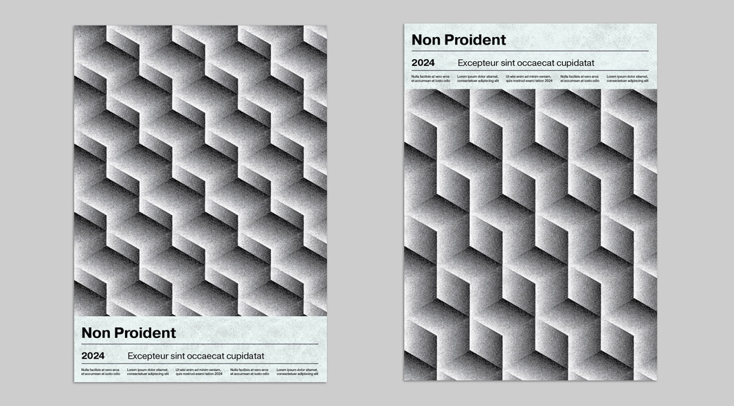 Isometric Cube Pattern Poster Template with Stipple Effect