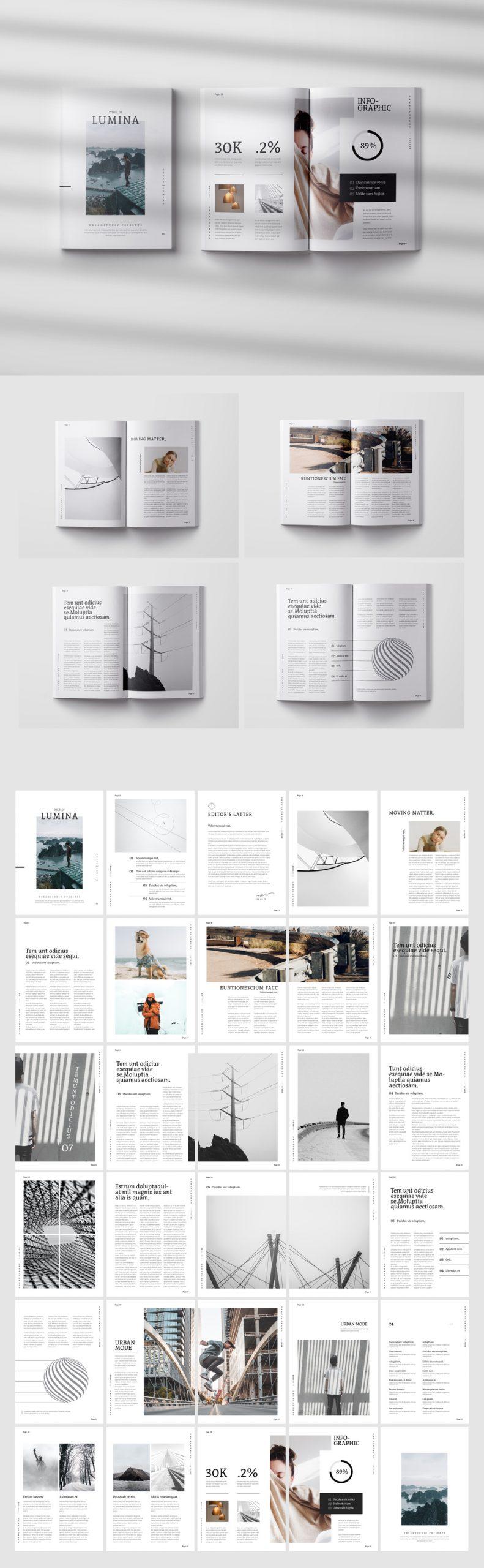 Lumina Magazine Template for Adobe InDesign