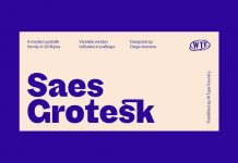 Saes Grotesk font family by W Type Foundry.
