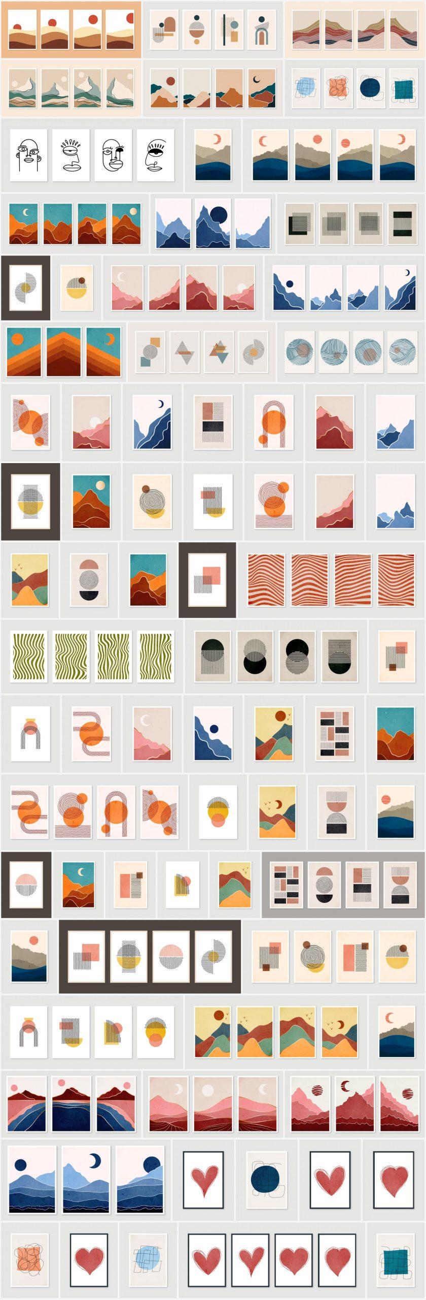 Vector graphics of minimalist graphic art prints.
