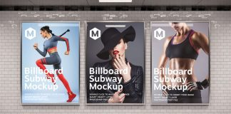 Adobe Photoshop mockup of three vertical billboards in a subway station.