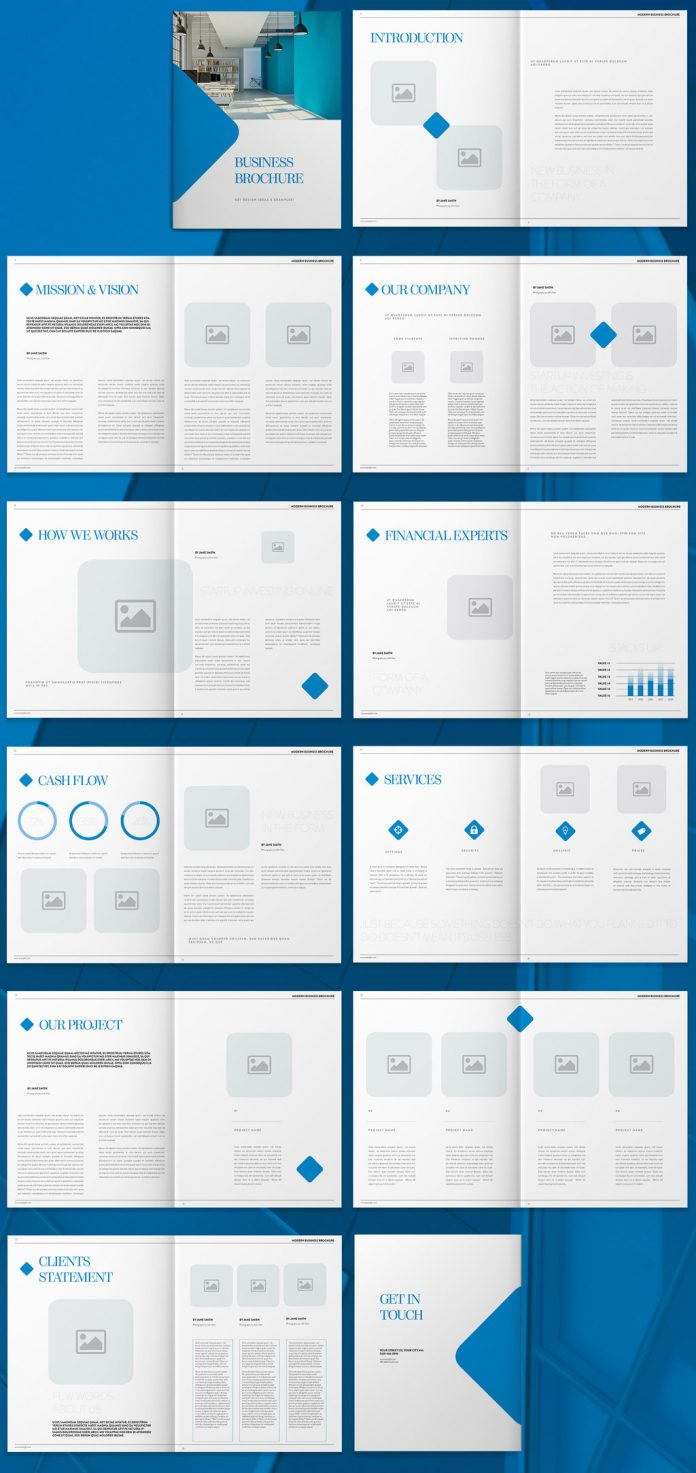 Blue Brochure Template with Minimalist Graphic Accents