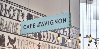 Branding by Mucca and illustrator Jeffrey Fisher for Cafe d'Avignon.