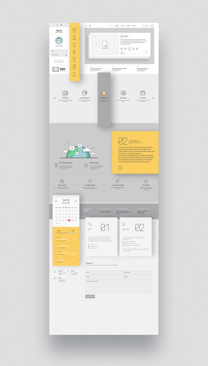Company portfolio website template for Adobe Illustrator with graphic icons.