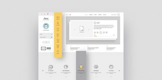 Company Portfolio Website Template for Adobe Illustrator with Graphic Icons