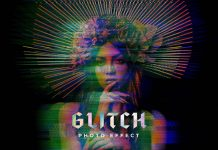 Digital Distorted Glitch Photoshop Effect Mockup by Pixelbuddha.
