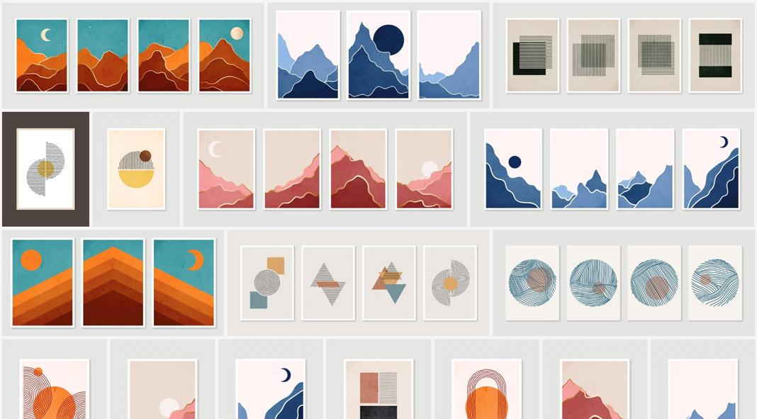 Download vector graphics of minimalist graphic art prints