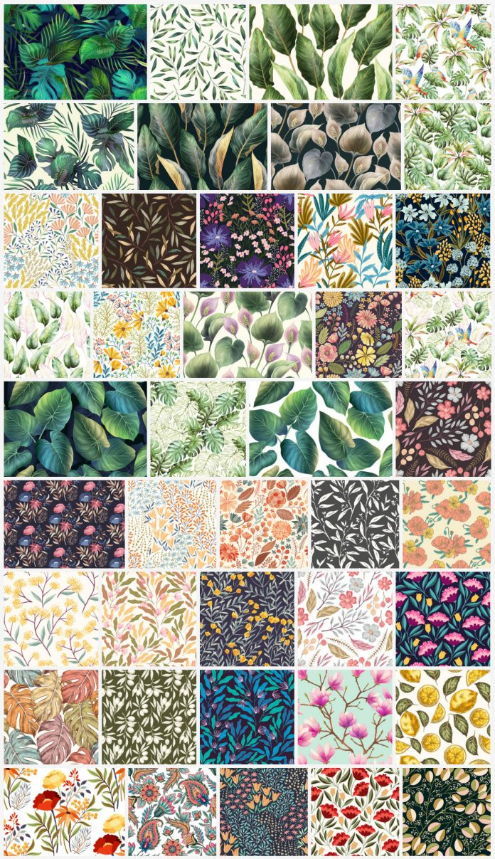Floral vector background patterns of leaves and flowers.