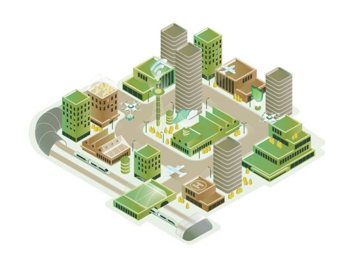 Isometric vector illustration of a smart city