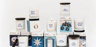 Packaging design by Marina Goñi Studio for the candle collection of The Singular Olivia
