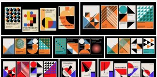 Postmodernism and Bauhaus-inspired vector graphics of geometric shapes including minimalist posters and background patterns.