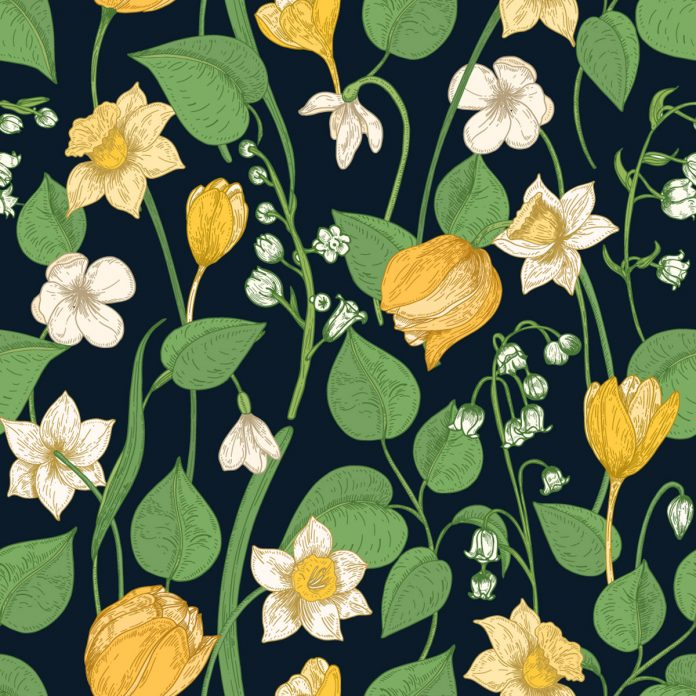 Seamless floral pattern with tender blooming springtime flowers and leaves on a black background