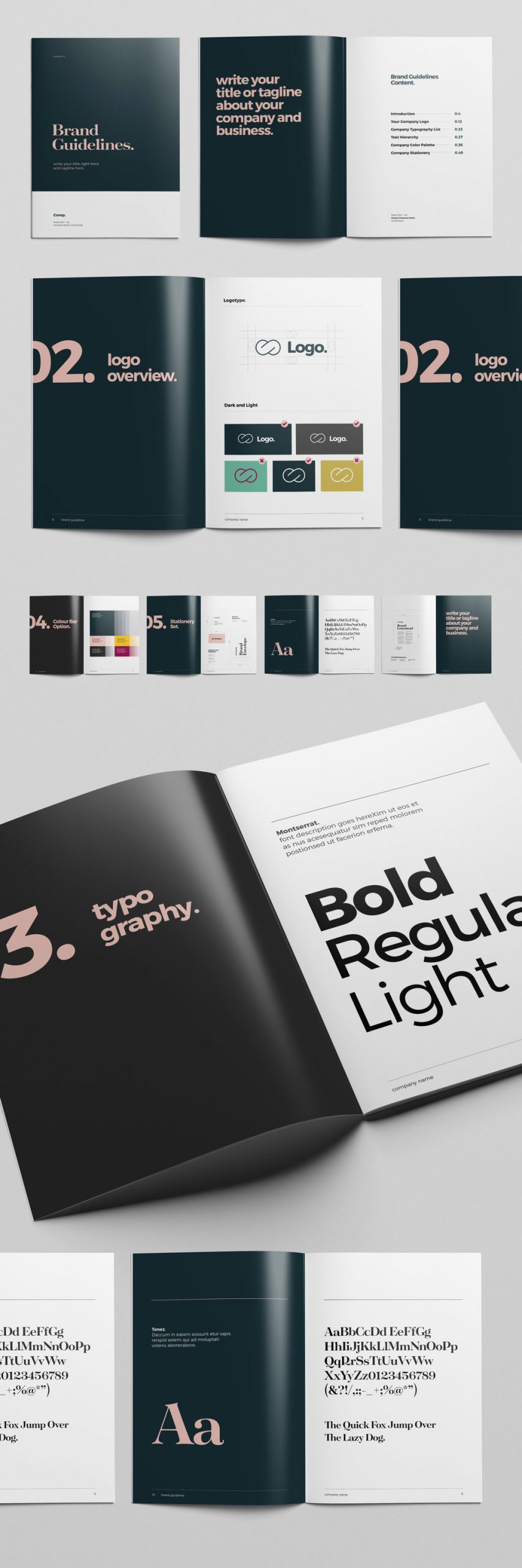 US Letter and A4 Brand Guidelines InDesign Brochure