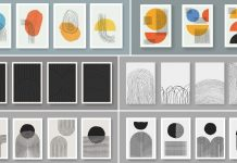 Vector graphics of abstract, minimalist geometric poster templates.