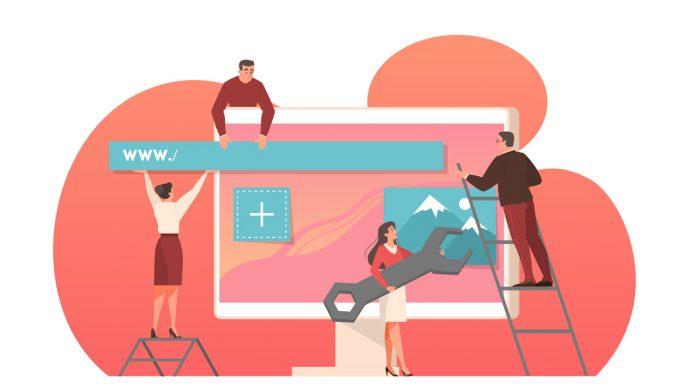Web design development on computer monitor screen by artinspiring