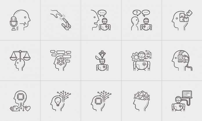 Hand-drawn outline doodle icons on the topic of artificial intelligence
