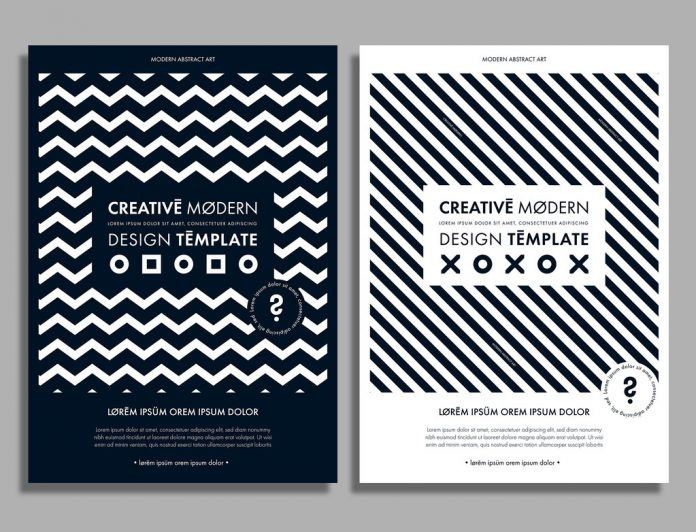 Adobe Illustrator flyer template with black and white pattern by blackcatstudio.