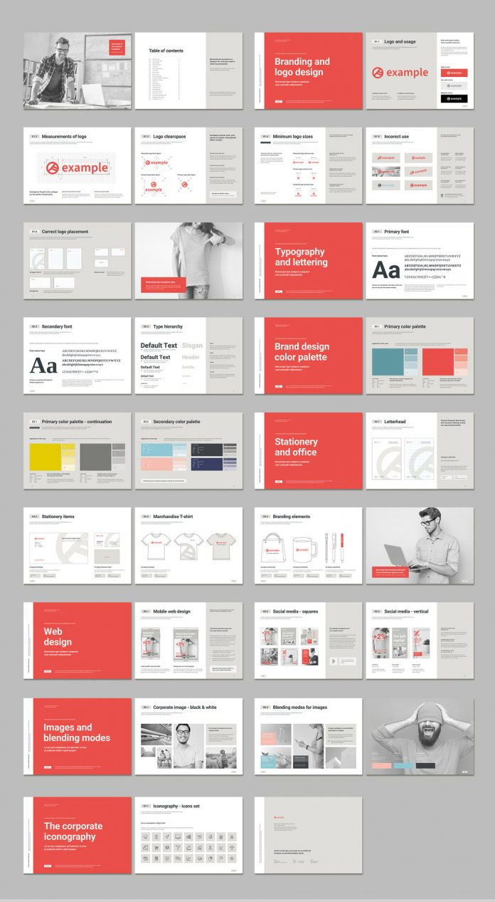 Brand Book Template with Coral Accents