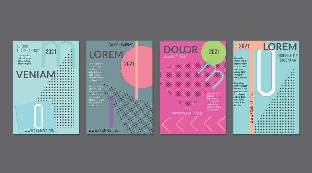 Four Vector Flyer Templates with Paper Cut Designs
