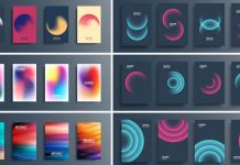 Geometric abstract graphic design templates for posters and other creative designs.