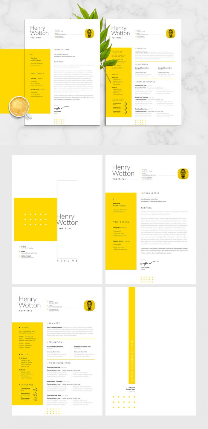 Modern and minimal resume, CV, and cover letter InDesign templates with yellow accents.