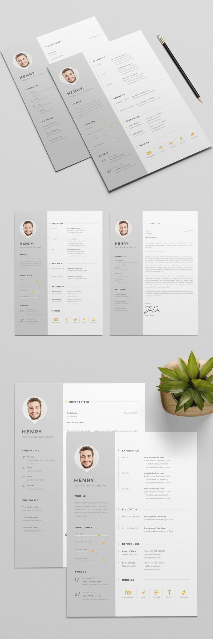 Resume and CV Template with Gray Sidebar Element and Orange Accents