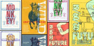 Vintage Overprint Poster Design Templates for Adobe Photoshop.