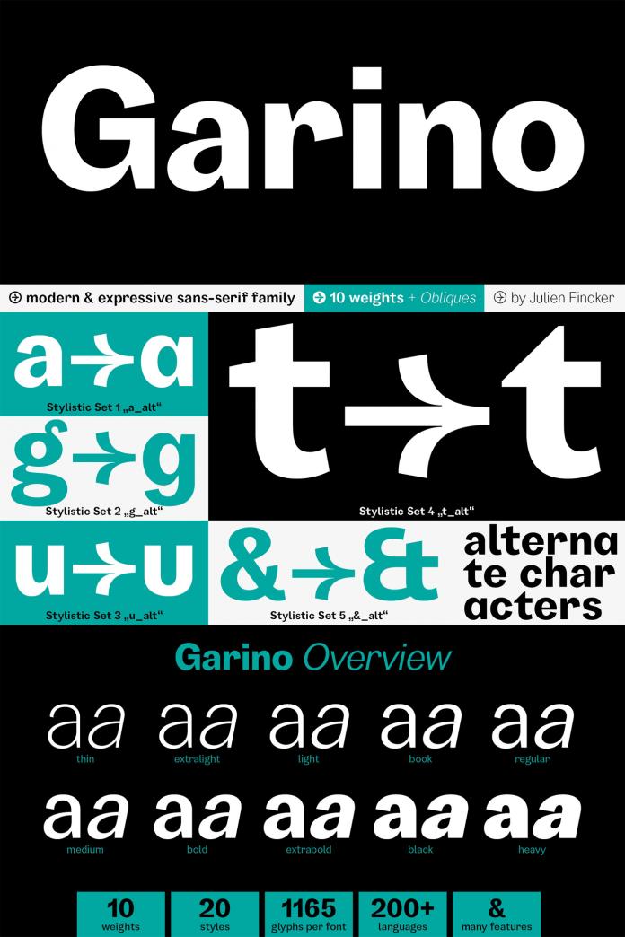 Garino font family by Julien Fincker