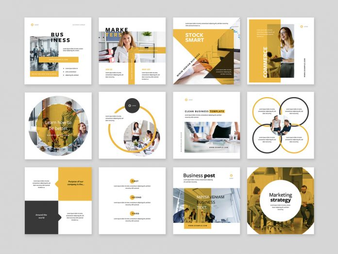 Clean Business Social Media Templates with Graphic Shapes and Yellow Accents