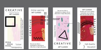 Flyer templates with modern geometric shapes