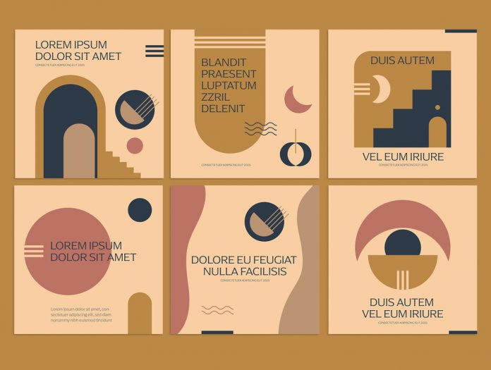 Instagram quote templates with modern geometric shapes in muted colors.