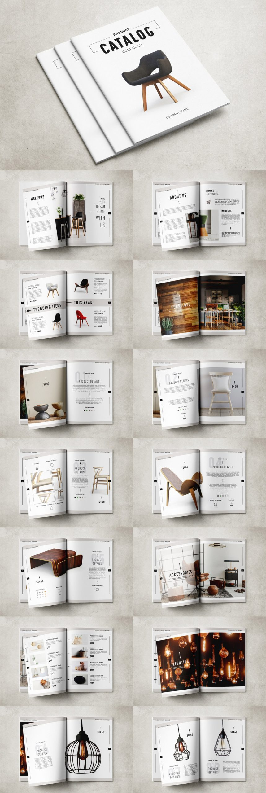 Minimal Product Catalog Template by GrkiCreative for Adobe InDesign