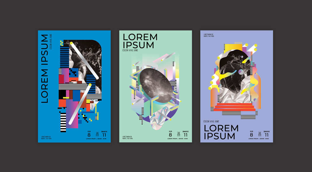 Three futuristic poster templates by Design Army.