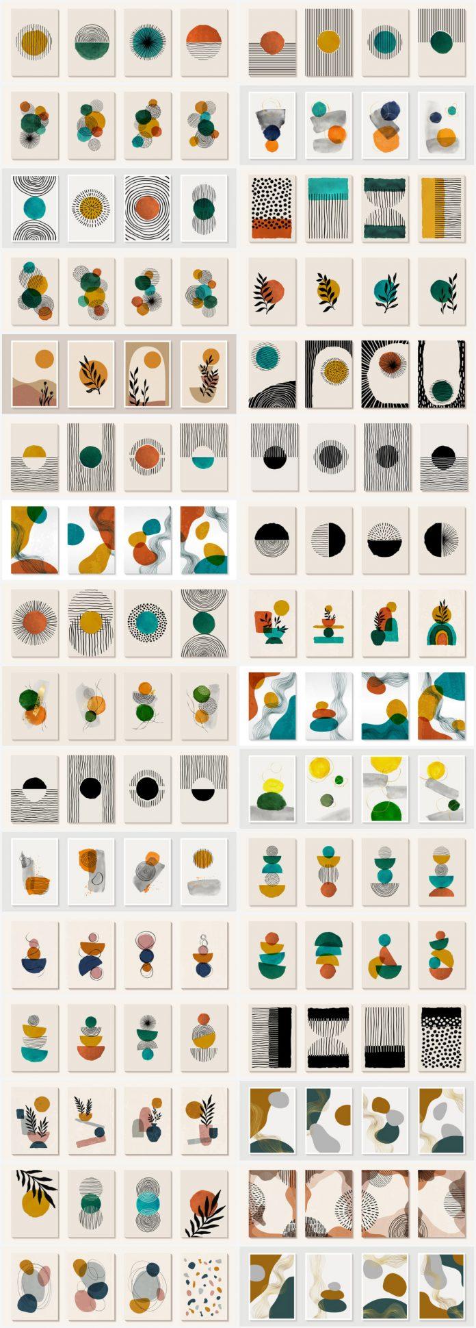 Vector graphics of minimalist, geometric modern art.