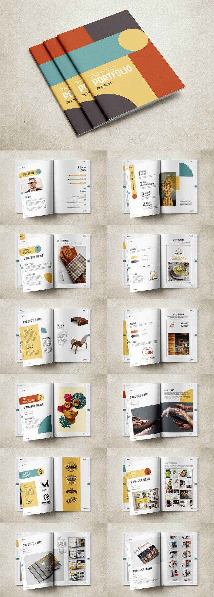 Adobe InDesign Graphic Design Portfolio Template