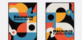 Retro Bauhaus Poster and Cover Templates with Abstract Geometric Elements