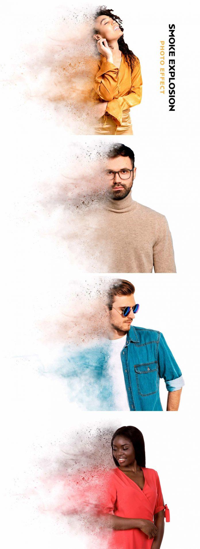 Smoke Explosion Photo Effect Mockup for Adobe Photoshop