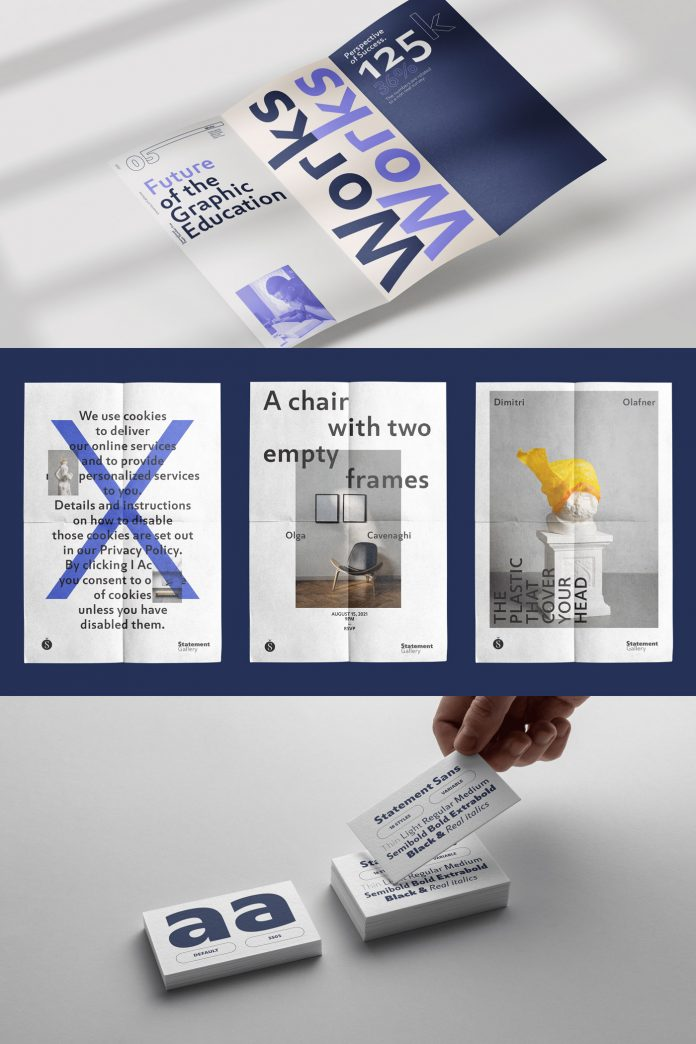 Statement Sans font family by Sudtipos.