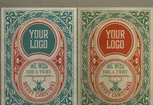 Vintage Christmas Greeting Card Template for Adobe Illustrator